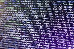 Код JavaScript Minificated Экран конспекта исходного кода компьютерного программирования веб-разработчик Backgrou цифровой технол Стоковые Фотографии RF