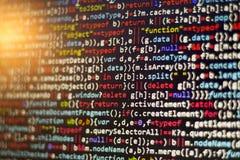 Код JavaScript Minificated Экран конспекта исходного кода компьютерного программирования веб-разработчик Стоковое Фото