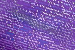 Код JavaScript Minificated Экран конспекта исходного кода компьютерного программирования веб-разработчик Backgrou цифровой технол Стоковая Фотография RF