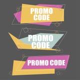 Код Promo, код талона Плоская иллюстрация установленного дизайна вектора иллюстрация штока