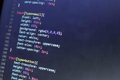 Код stylesheet CSS Экран конспекта исходного кода компьютерного программирования веб-разработчик Предпосылка цифровой технологии  Стоковая Фотография