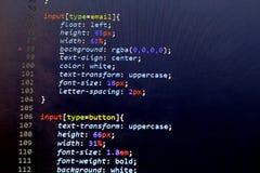 Код stylesheet CSS Экран конспекта исходного кода компьютерного программирования веб-разработчик Предпосылка цифровой технологии  Стоковые Фото
