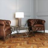 Кожаная винтажная мебель в классическом интерьере Стоковые Фотографии RF