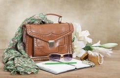 Кожаная женская сумка Стоковое Изображение