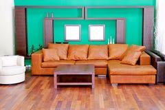 кожаная живущая комната Стоковые Изображения