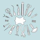 Кожаная иллюстрация вектора инструментов деятельности иллюстрация штока