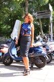 Кожаная мода Амстердам улицы юбки Стоковое Изображение