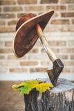Кожаная смертная казнь через повешение шляпы на ручке оси Стоковое Изображение RF
