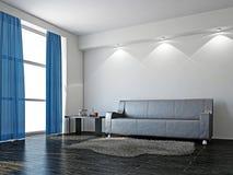 Кожаная софа в гостиной Стоковое Изображение