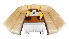 кожаная таблица софы ресторана Стоковое Фото