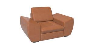 Кожаное кресло изолированное на белой предпосылке Стоковые Фотографии RF