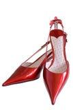 кожаные ботинки красного цвета патента Стоковые Изображения