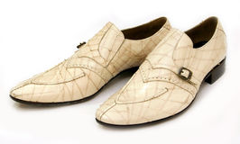 кожаные ботинки людей белые Стоковое Фото