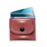 Кожаные бумажник и кредитные карточки Бесплатная Иллюстрация