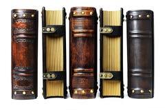 Кожаные книги и журналы захваченные от стороны 3 книги с частью позвоночника и 2 журнала от фермуаров встают на сторону стоковое изображение rf