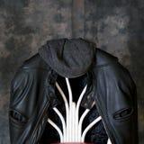 Кожаные куртка и шляпа мотоцикла Стоковые Изображения RF