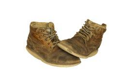 кожаные старые ботинки Стоковая Фотография