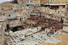 Кожаные дубильни в Fes, Марокко Стоковые Фото
