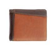 Кожаный бумажник на белизне Стоковая Фотография