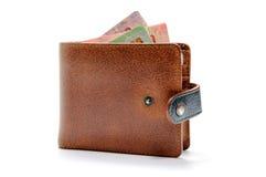 Кожаный бумажник на предпосылке изолированной белизной стоковые изображения
