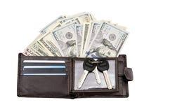 Кожаный бумажник с кредитными карточками и долларами Стоковые Изображения