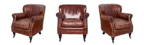 Кожаный коричневый стул Стоковая Фотография