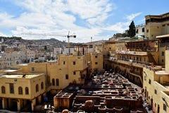 Кожаный рынок Fez, Марокко Стоковое Изображение RF
