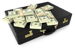 Кожаный чемодан с долларами 3d иллюстрация вектора