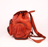 Кожаный backpack на белизне Стоковая Фотография RF
