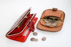 2 кожаных бумажника с монетками Стоковые Фото