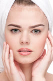 кожа близкого здоровья совершенная вверх по женщине Стоковое Изображение