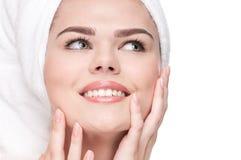кожа близкого здоровья совершенная вверх по женщине Стоковые Фото