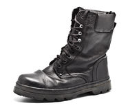 кожа ботинка армии черная Стоковые Фотографии RF