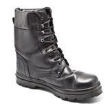 кожа ботинка армии черная Стоковое Изображение