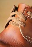 кожа ботинка близкая вверх Стоковые Фото