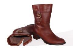 кожа ботинок коричневая женская Стоковые Фотографии RF