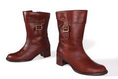 кожа ботинок коричневая женская Стоковое фото RF
