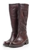 кожа ботинок коричневая Стоковая Фотография