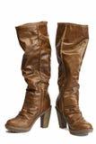 кожа ботинок коричневая Стоковое фото RF