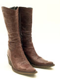 кожа ботинок коричневым изолированная ковбоем Стоковые Фотографии RF