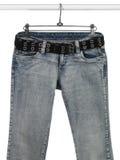 кожа голубых джинсов пояса черная Стоковые Фотографии RF