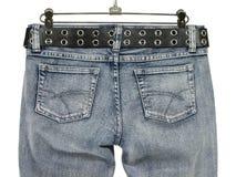 кожа голубых джинсов пояса Стоковые Изображения RF