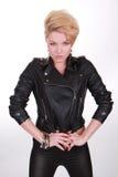 кожа куртки девушки Стоковое Изображение RF