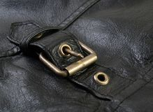 кожа куртки пряжки Стоковое фото RF