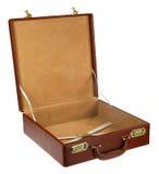 кожа портфеля коричневая открытая Стоковое Изображение