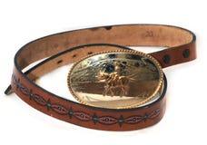 кожа пряжки пояса западная Стоковое Изображение