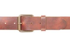 кожа пряжки пояса коричневая Стоковое Изображение
