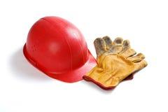 кожа шлема перчаток использовала Стоковые Фото