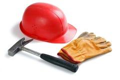 кожа шлема перчаток использовала Стоковое Фото