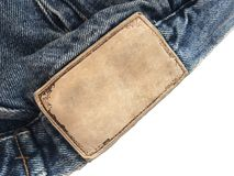 кожа ярлыка Ткань джинсовой ткани текстуры Стоковые Изображения RF